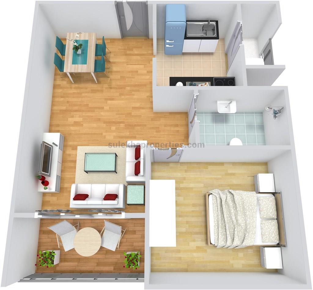 1 bhk flat interior design india - Floor Plan