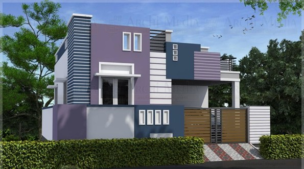South Facing Ground Floor Elevation : Manchester aadavan enclave in thudiyalur coimbatore by